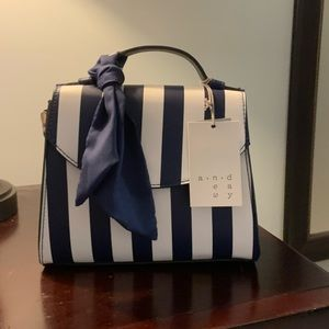 Blue and white stripe crossbody bag